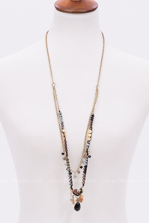 First Love Layered Necklace in Black
