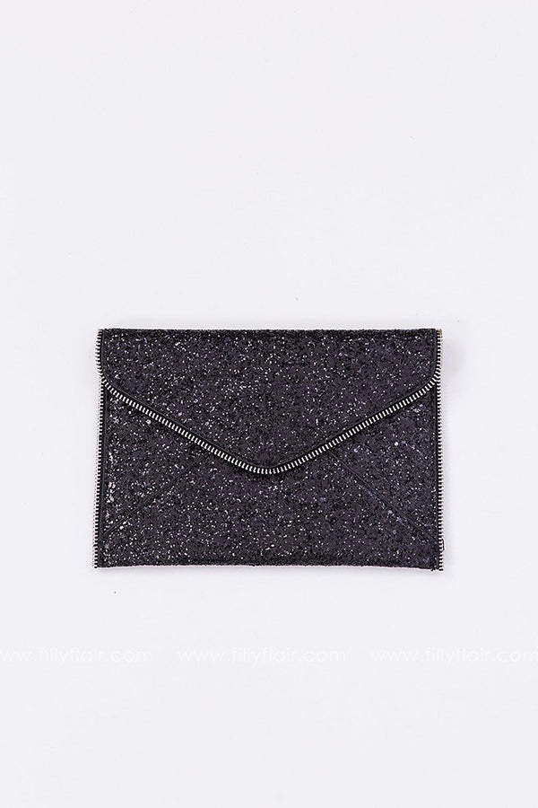 Touch of Glam Sequin Clutch in Black