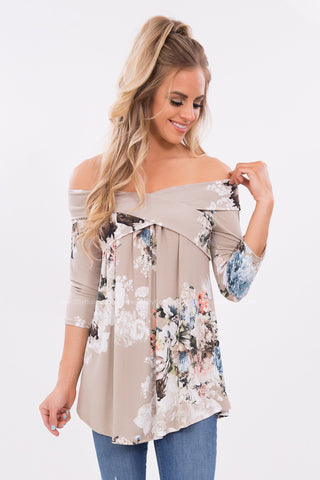 Above All Floral Print Off The Shoulder Top in Taupe