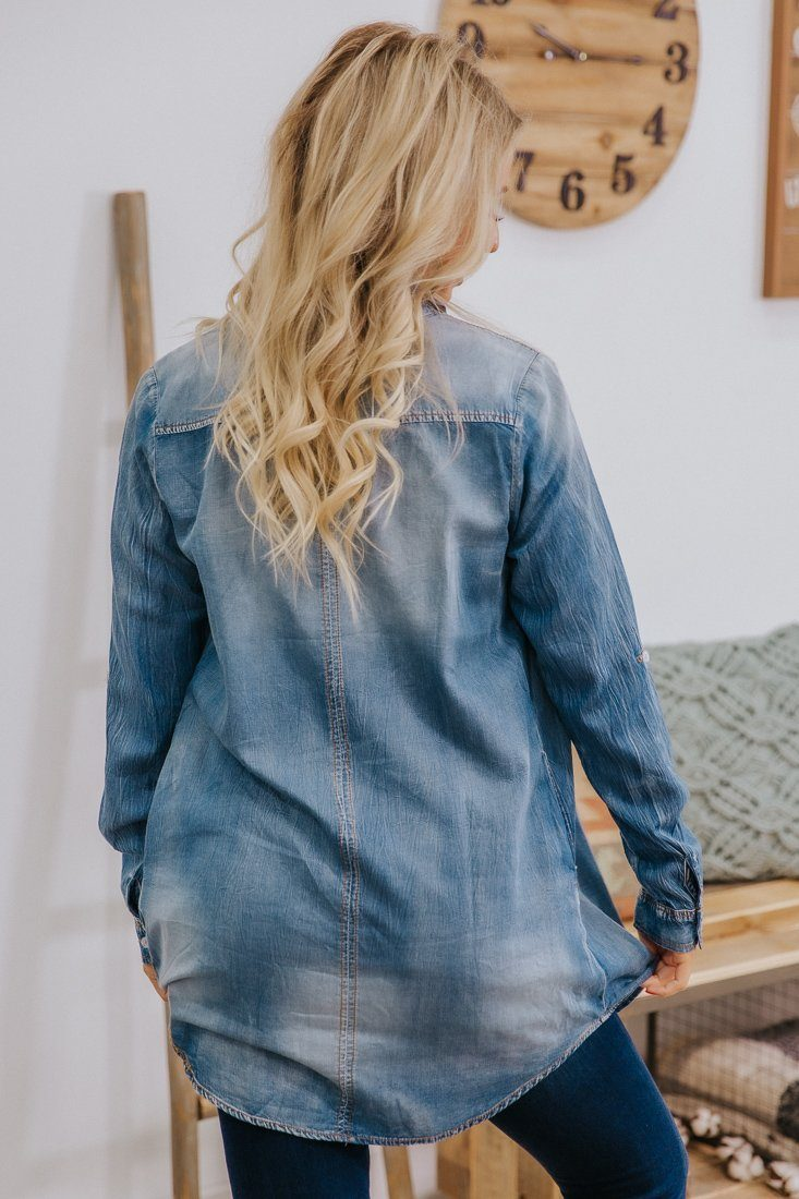 You Are The One Denim Long Sleeve Mini Dress