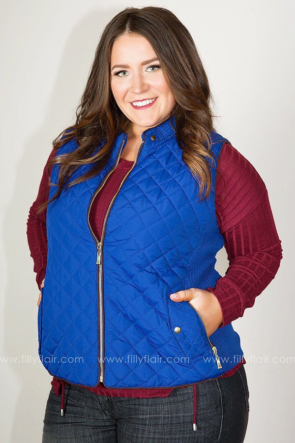 Quilted Bliss Vest in Blue