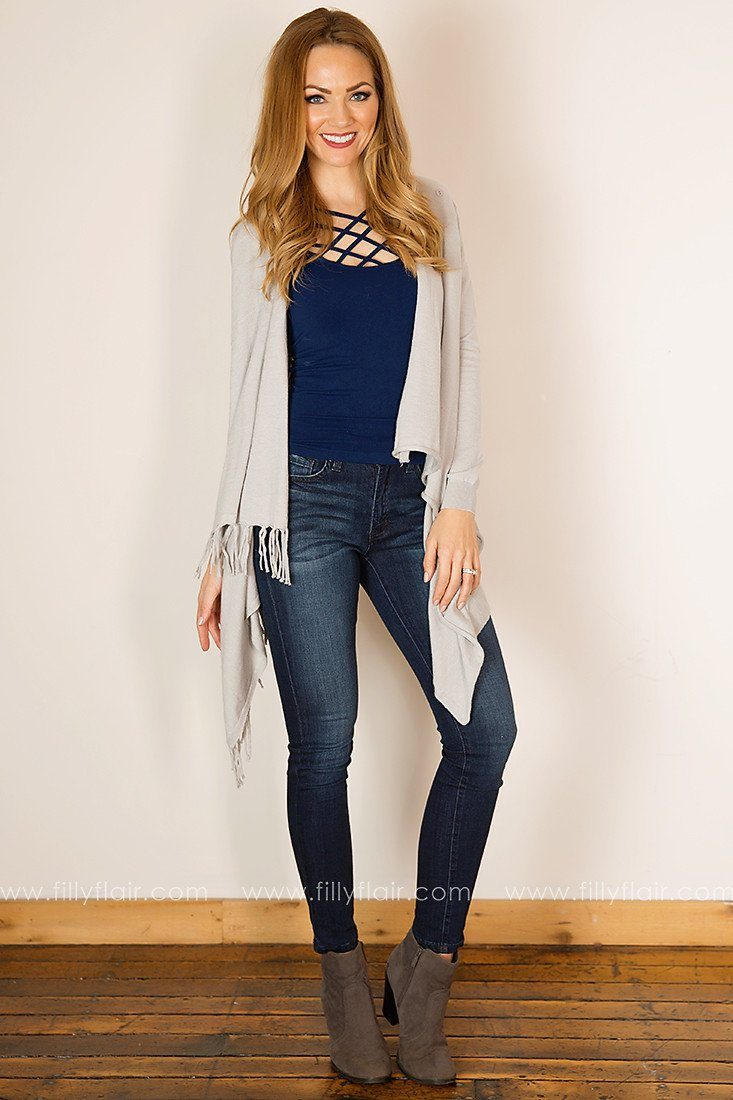 Peaceful Moment Drape Front Cardigan in Grey