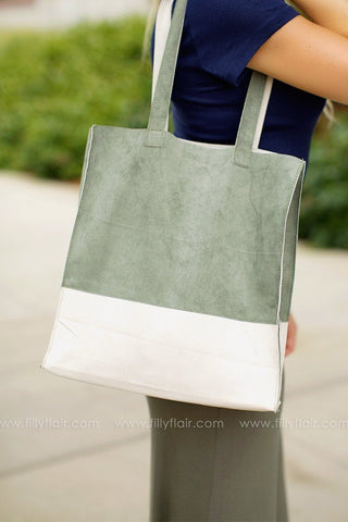 Sophisticated Lady Suede Bag in Sage and Ivory