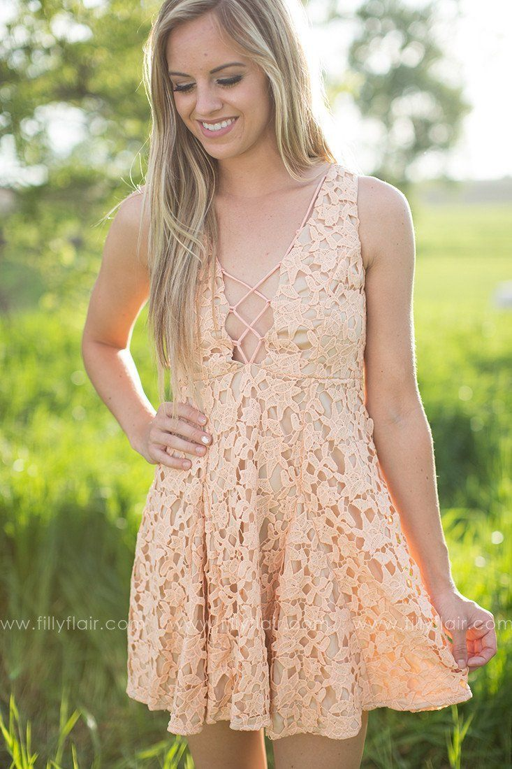 Romance in Rome Lace Dress in Peach