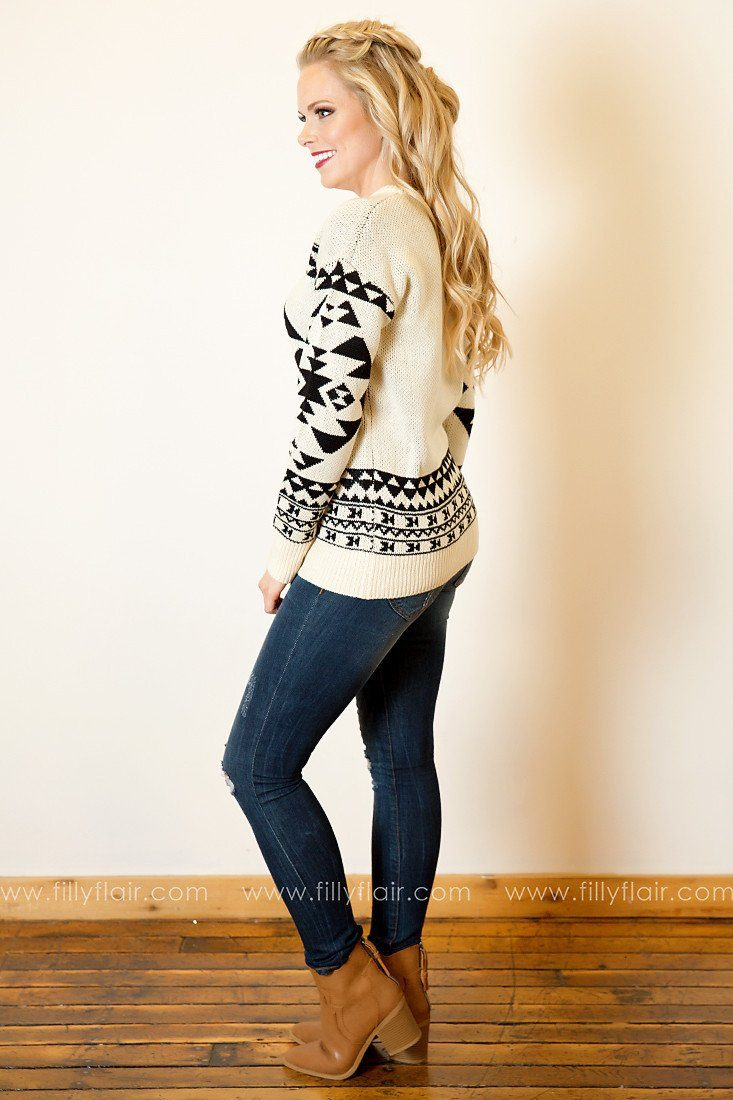 Believe it or Not Tribal Jacquard Sweater in Taupe