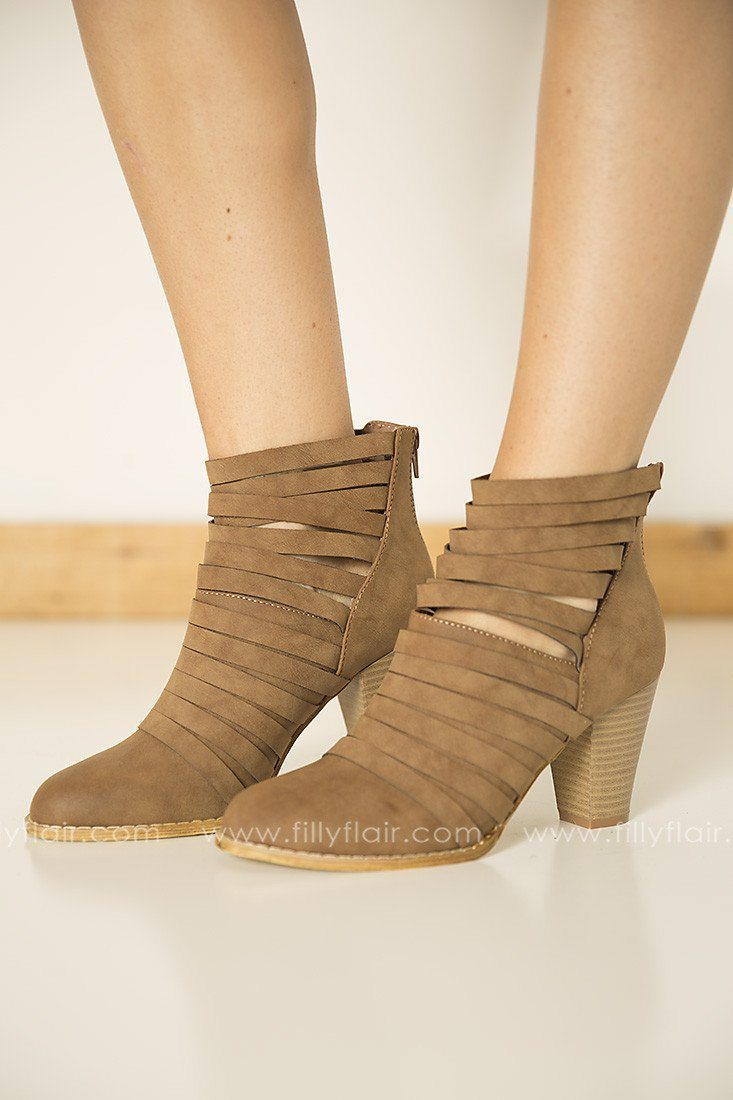Feeling Strappy Booties in Brown