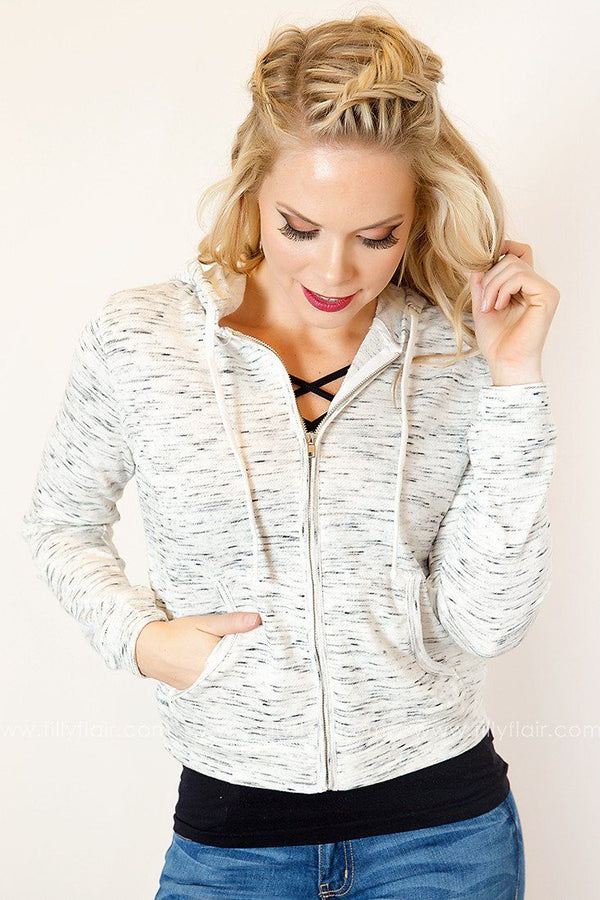 Fun and Freedom Zip Up Hoodie in Oatmeal