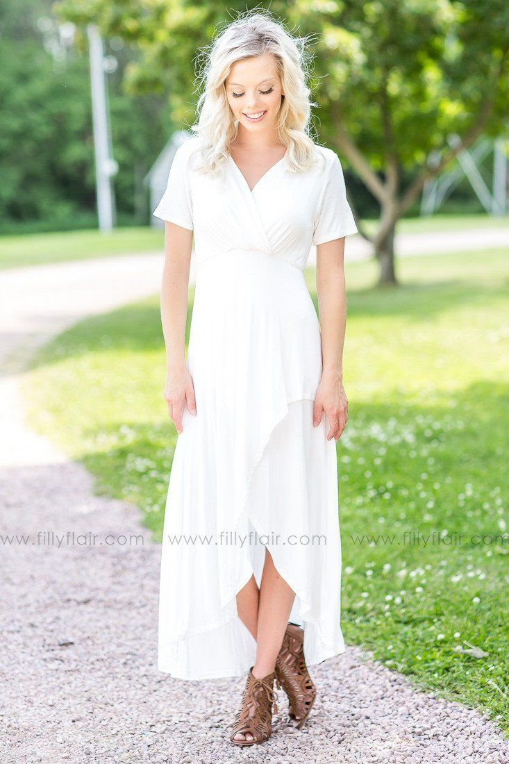 Simply White Drape Style High Low Dress