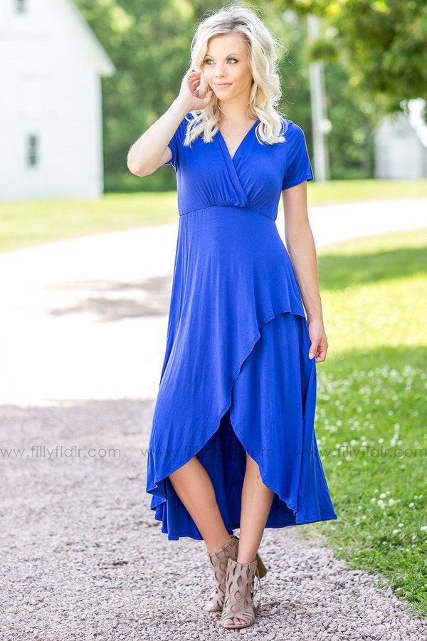 The Royals Drape Style High Low Dress in Blue