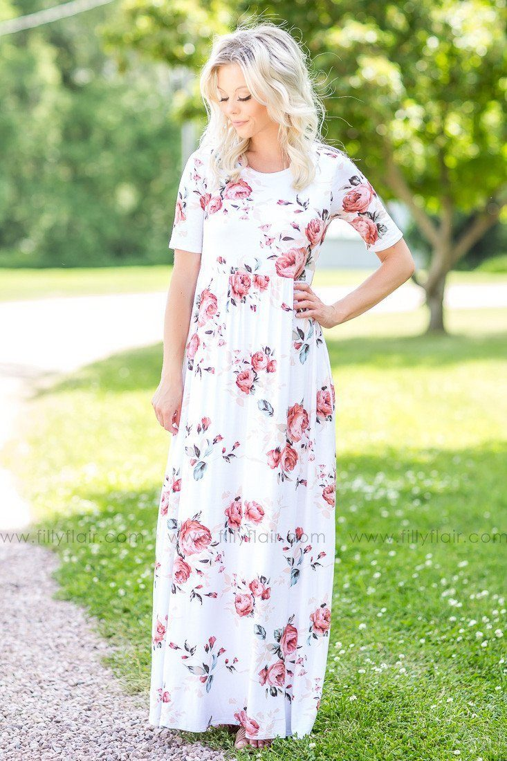 Long Live Ivory Floral Maxi Dress with Pockets