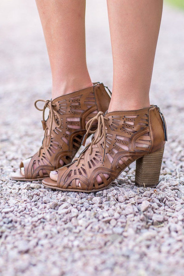 Naughty Monkey Leather Selly a Lennon Lace Up Booties in Tan