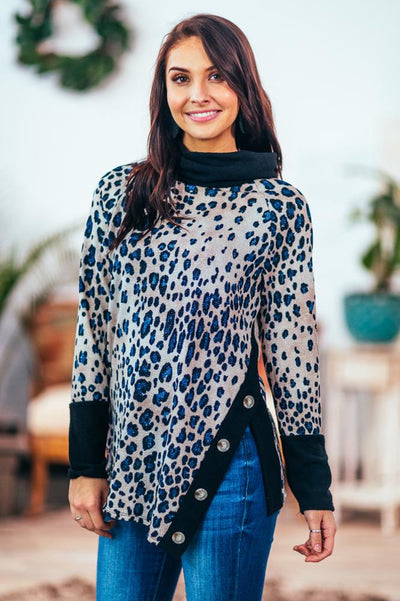 Light In Her Eyes Blue Shimmer Leopard Cowl Neck Long Sleeve Top in Beige - Filly Flair