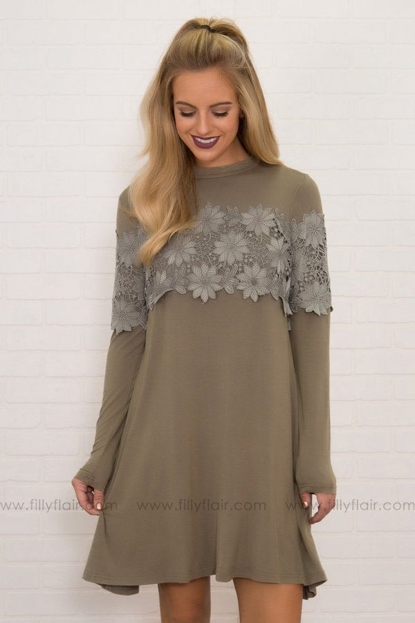 Eyes On You Lace Detail Long Sleeve Mini Dress in Sage