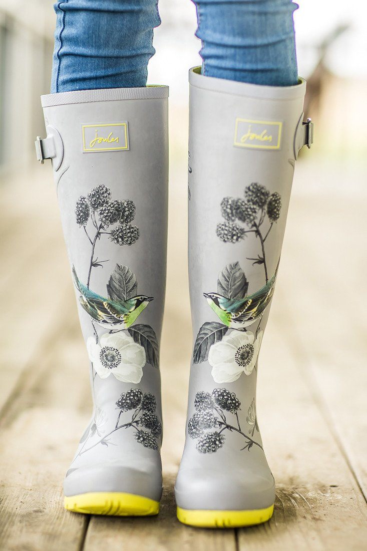 Joules Grey and Yellow Rain boots