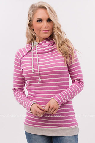 Endless Weekend Double Hooded Striped Sweatshirt in Magenta