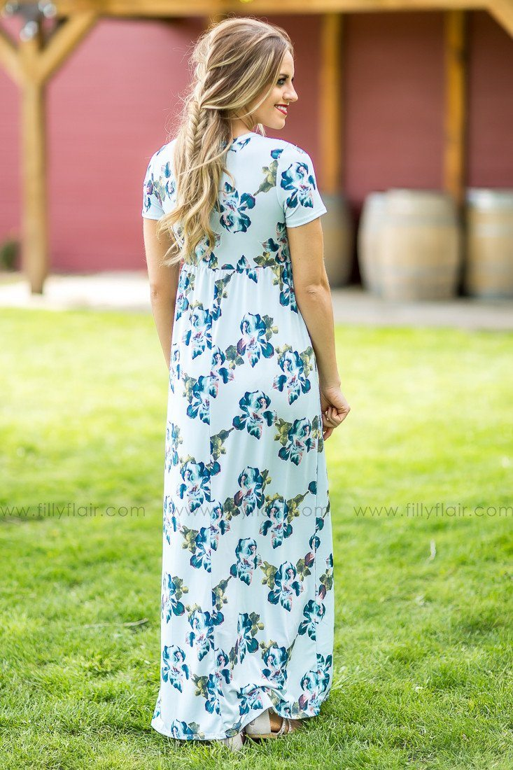Swoon Worthy Floral Maxi Dress in Mint