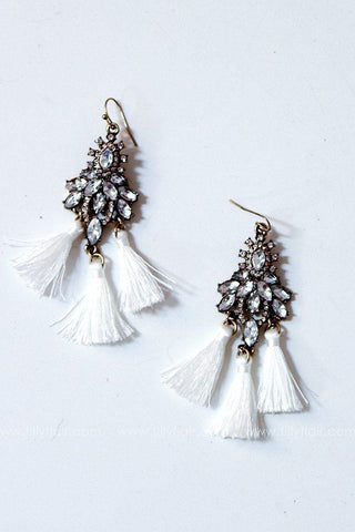 Beloved Rhinestone Tassel Earrings in White