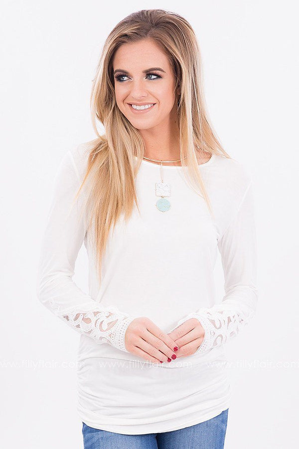 Soft Melodies Long Sleeve Tunic in White