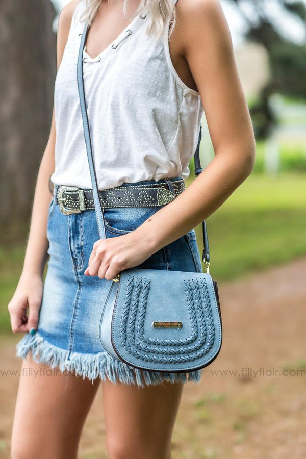 On the Town Nicole Lee Malou Braided Flap Saddle Crossbody Bag in Blue - Filly Flair