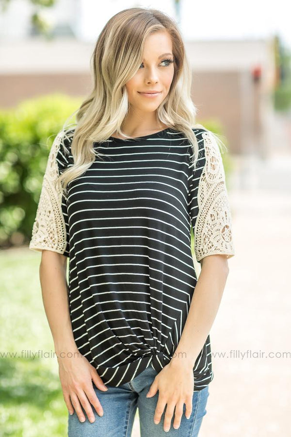 All I Know Striped Crochet Sleeve Knotted Top In Black