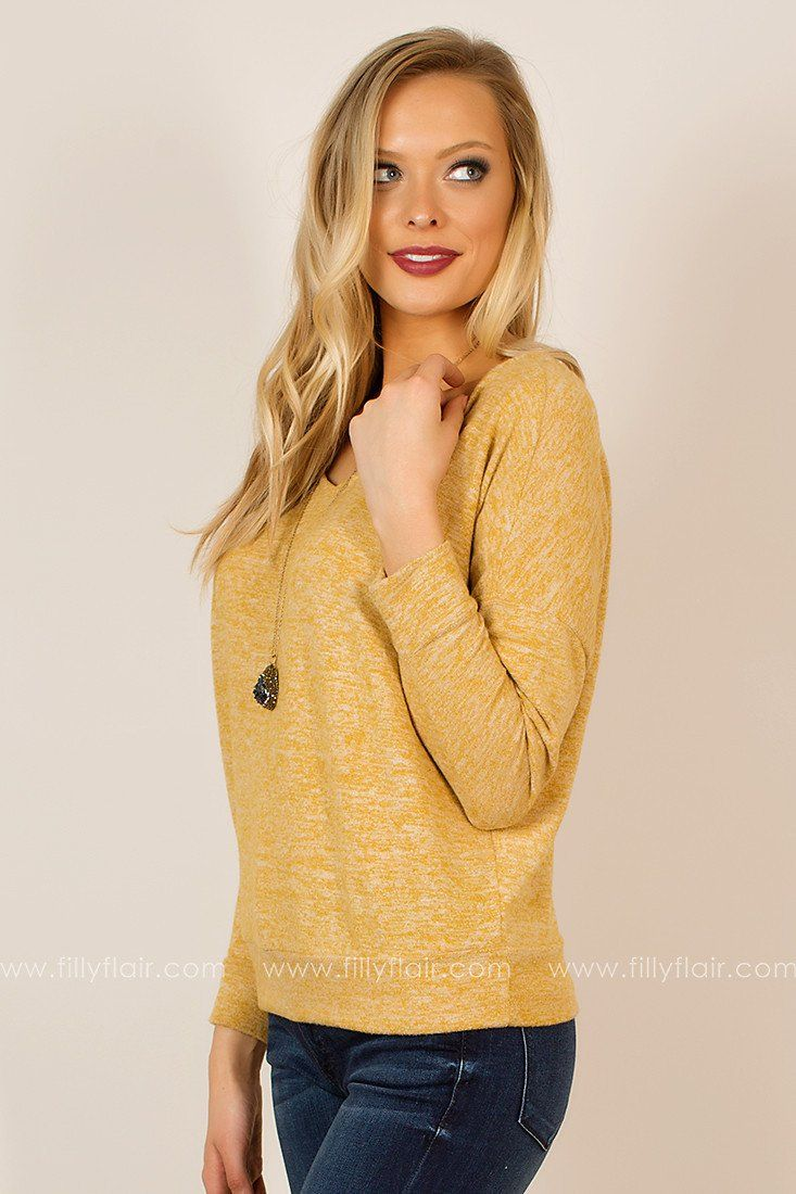 Just Relax V-Neck Long Sleeve Top in Mustard