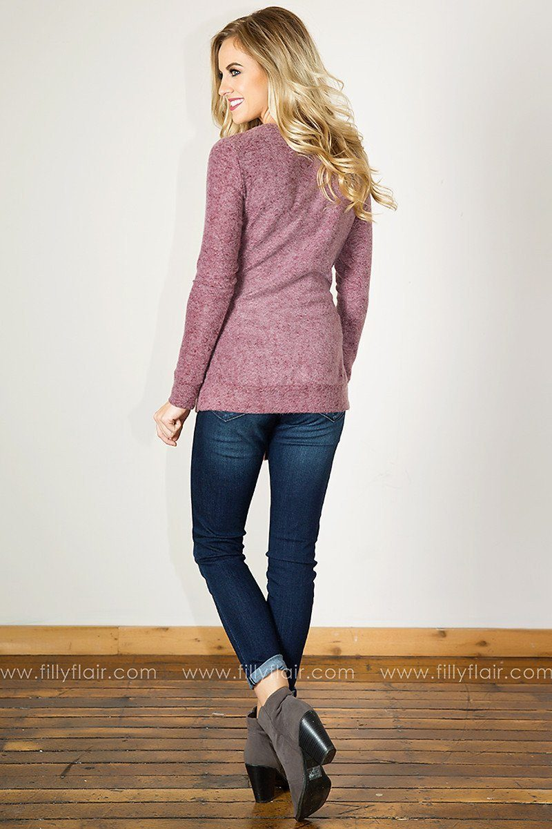 Softest Dream Long Sleeve Tie Sweater in Mauve