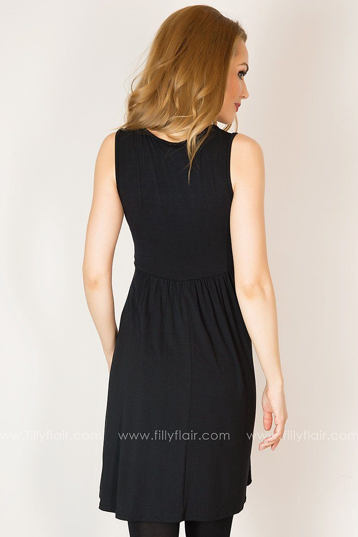 Current Events Sequined Sleeveless Dress in Black