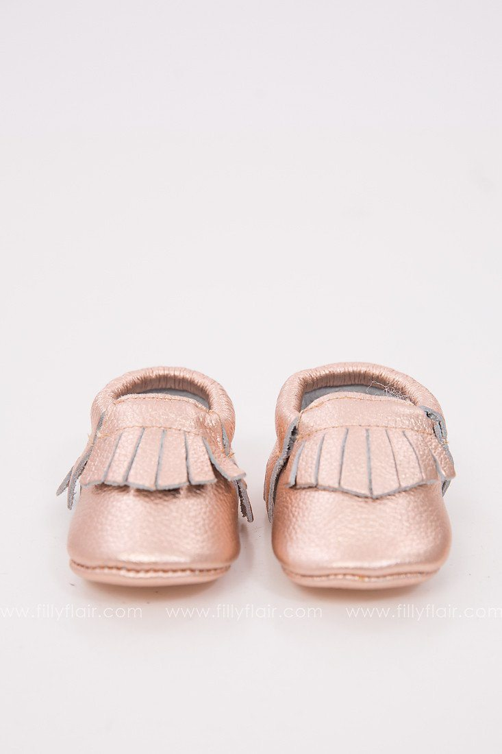 Baby Moccasins in Rose Gold