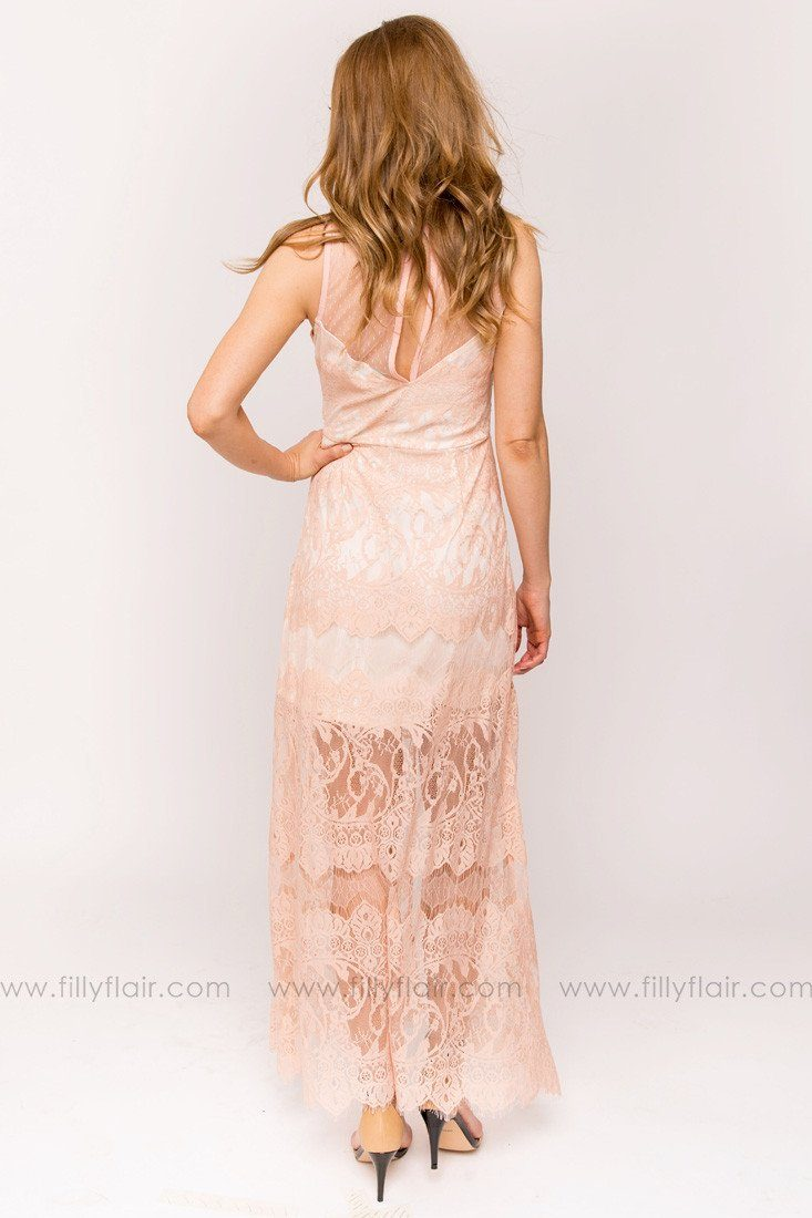 Leah Lace Bridesmaid Dress in Peach