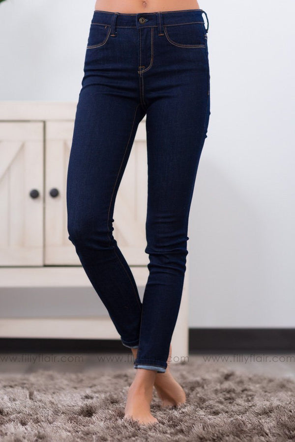 Sneak Peek Mid Rise Dark Wash Jeans - Filly Flair