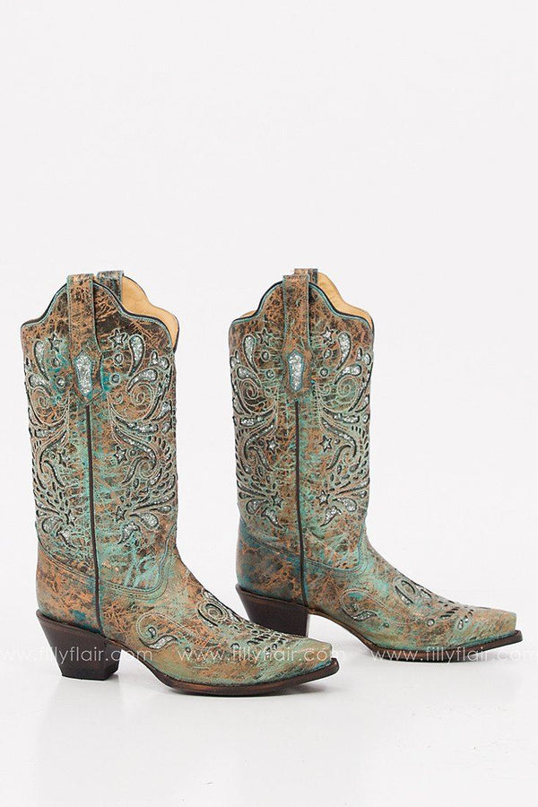 Corral Glitter Inlay Snip Toe Western Boot