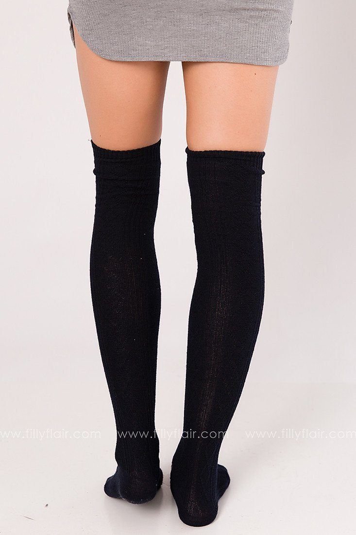 Over the Knee Socks in Navy
