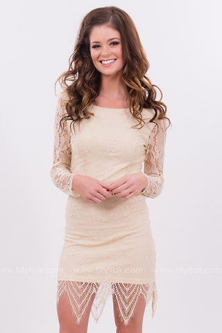 Heaven Sent Lace Dress in Nude