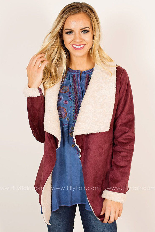Come Apart Draped Jacket in Wine
