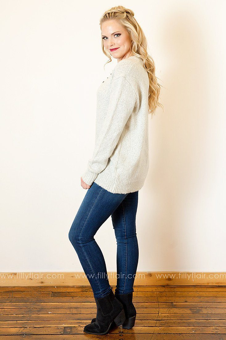 True Delight Lace-Up Long Sleeve Top in Grey