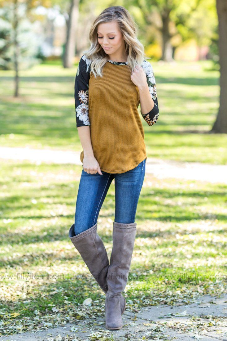 Chasing Memories Floral Striped Top In Mustard - Filly Flair