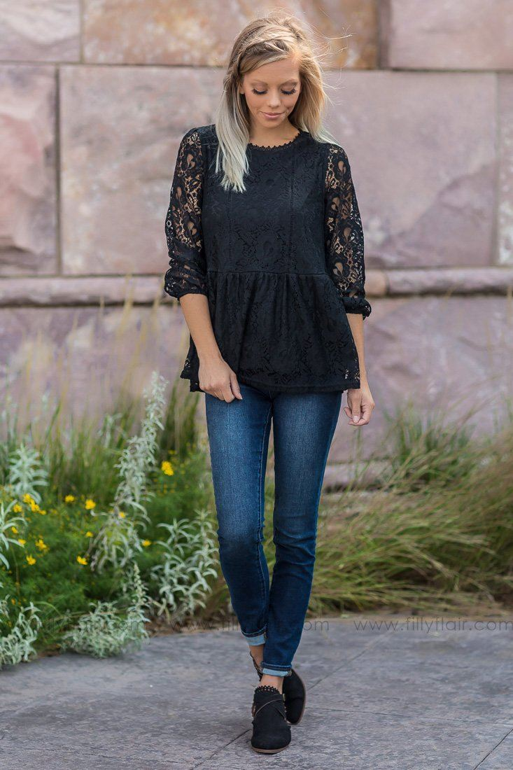 Hello Beautiful Lace Top in Black - Filly Flair