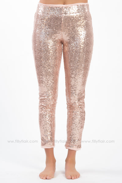 Find A Way 3/4 Length Sequin Leggings In Rose Gold - Filly Flair
