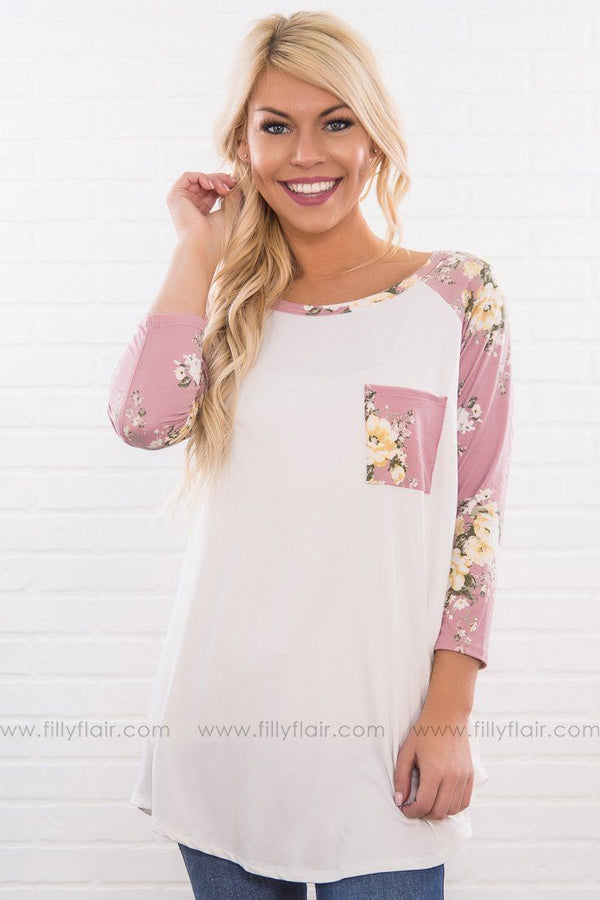 This Love Is Ours Floral 3/4 Sleeve Pocket Top In Mauve