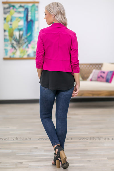 Bring Me To Life 3/4 Sleeve Fitted Blazer in Magenta - Filly Flair