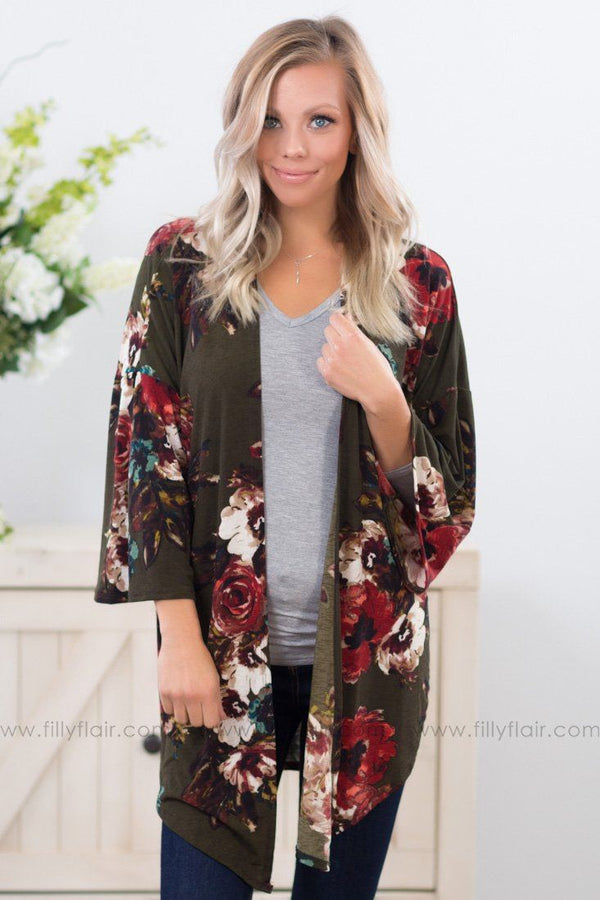 *Falling For Floral 3/4 Sleeve Cardigan in Olive* - Filly Flair