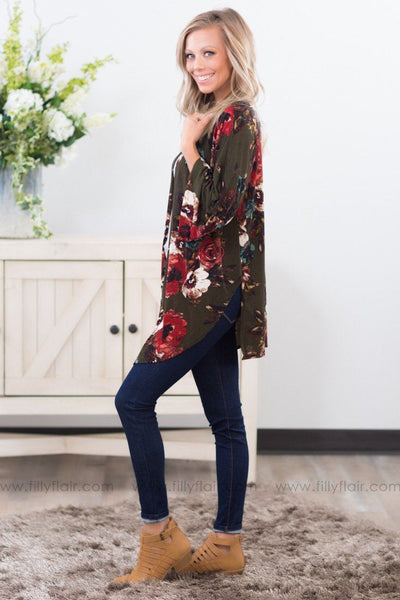 Falling For Floral 3/4 Sleeve Cardigan in Olive - Filly Flair