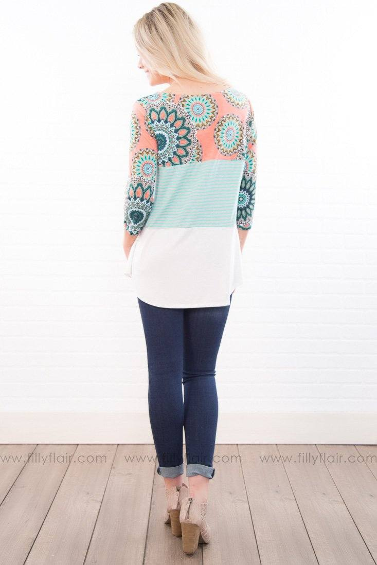 The Only One Paisley Striped Color Block Top In Coral