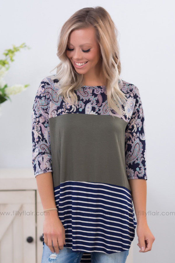 *Mix It Up Paisley Striped Color Block Top in Olive Navy* - Filly Flair