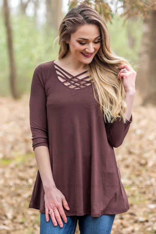Where We Wanna Go 3/4 Sleeve Criss Cross Top In Brown - Filly Flair