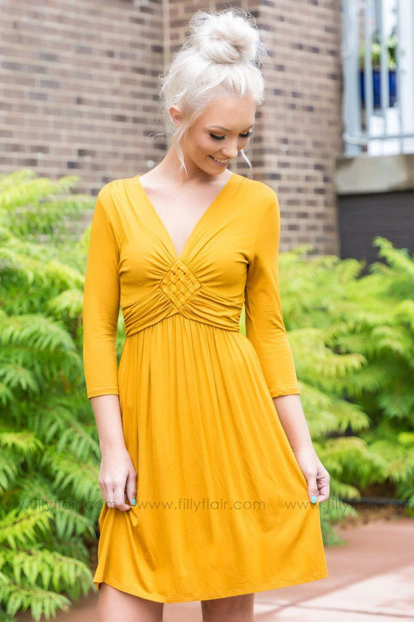 Sweet and Simple 3/4 Sleeve Dress in Mustard - Filly Flair