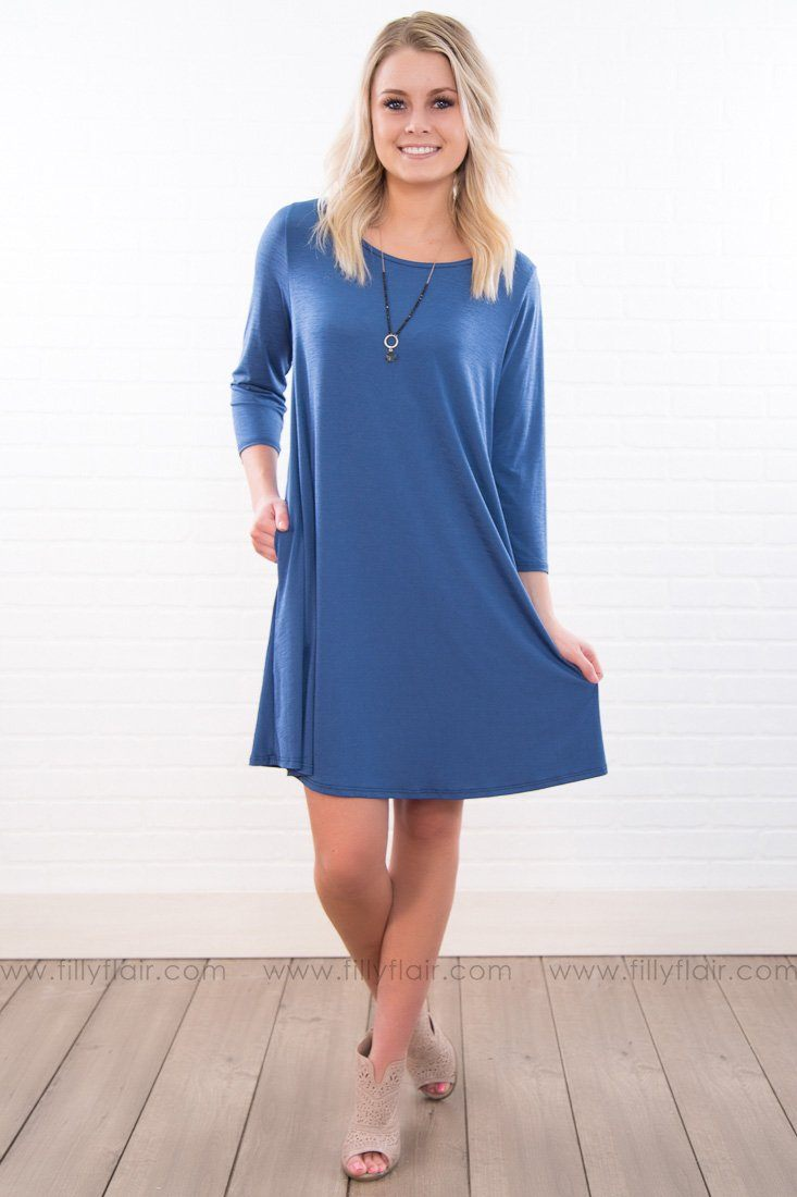Little Miss Solid Mini Dress In Blue