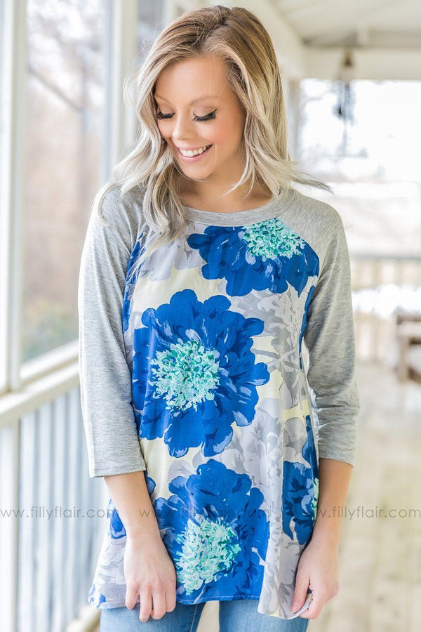 Can't Help Myself 3/4 Sleeve Floral Top In Blue Grey