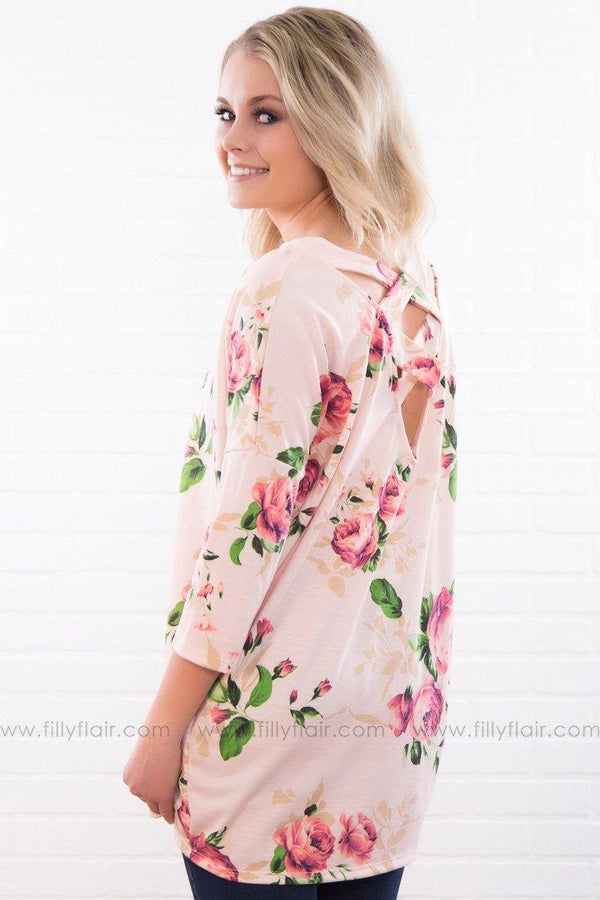 To The Moon Floral Criss Cross Back Top In Pink