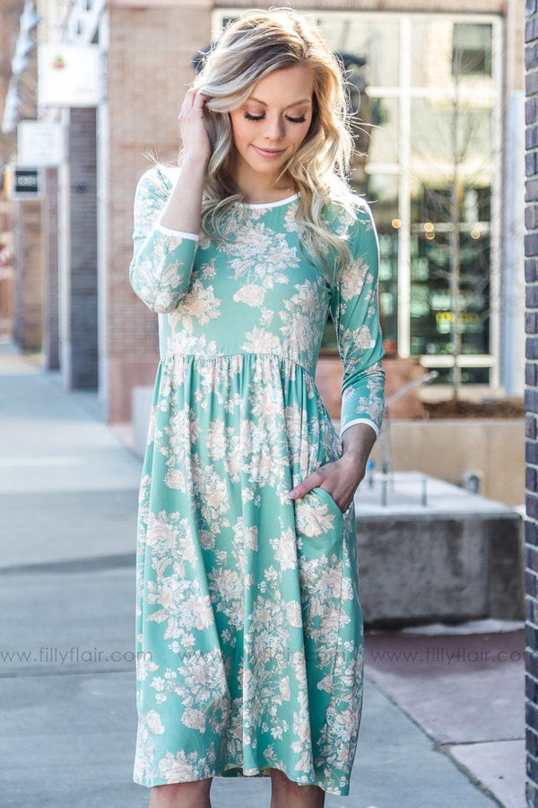 Take It Easy 3/4 Sleeve Floral Dress In Mint